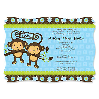 Blue twin monkey boys personalized baby shower invitations blue twin monkey boys personalized baby shower invitations filmwisefo