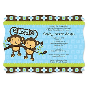 Blue Twin Monkey Boys - Personalized Baby Shower Invitations