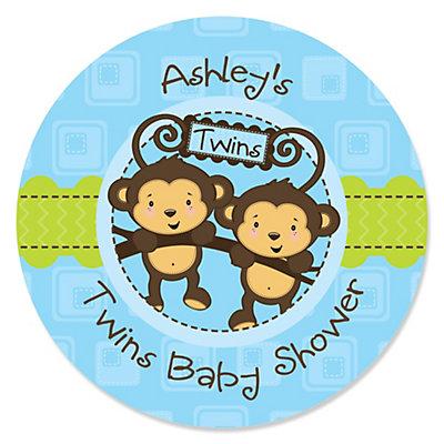 Blue Twin Monkey Boys Personalized Baby Shower Sticker Labels 24
