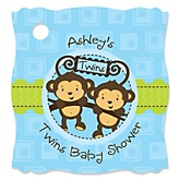Twin Monkey Boys - Personalized Baby Shower Tags - 20 Count