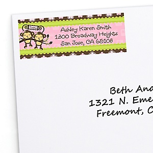 Twin Monkey Girls - Personalized Baby Shower Return Address Labels - 30 Count