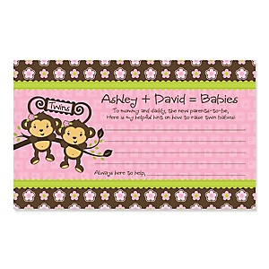 Pink Twin Monkey Girls - Personalized Baby Shower Helpful Hint Advice Cards - 18 ct.