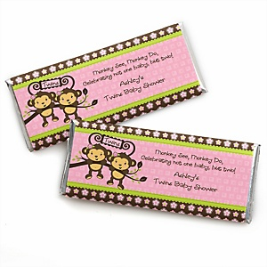 Pink Twin Monkey Girls - Personalized Baby Shower Candy Bar Wrapper Favors