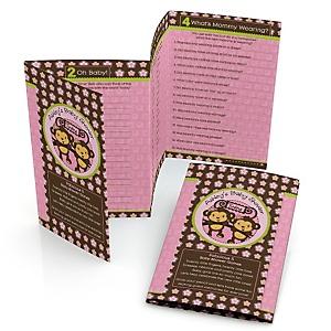 Pink Twin Monkey Girls - Personalized Baby Shower Fabulous 5 Games