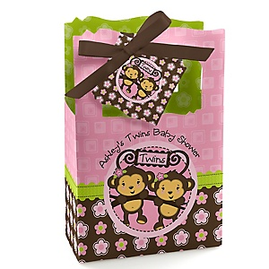 Pink Twin Monkey Girls - Personalized Baby Shower Favor Boxes