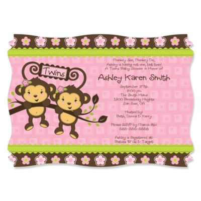 Pink Twin Monkey Girls Personalized Baby Shower Invitations