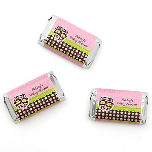 Pink Twin Monkey Girls - Personalized Baby Shower Mini Candy Bar Wrapper Favors - 20 ct