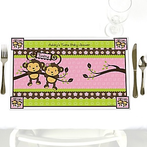 Pink Twin Monkey Girls - Personalized Baby Shower Placemats