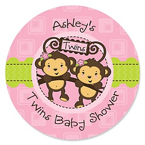 Pink Twin Monkey Girls - Personalized Baby Shower Sticker Labels - 24 ct