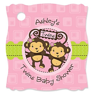 Twin Monkey Girls - Personalized Baby Shower Tags - 20 Count