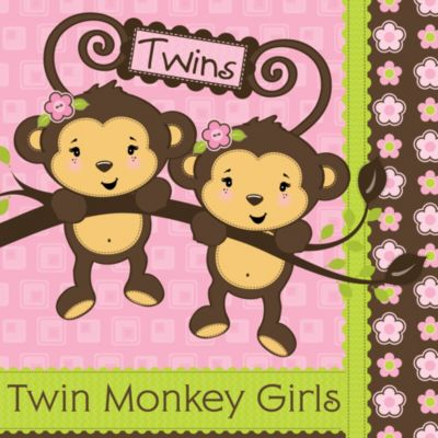 Twin Monkey Girls   Baby Shower Theme