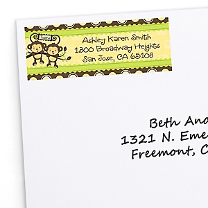 Twin Monkeys Neutral - Personalized Baby Shower Return Address Labels - 30 Count