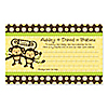 Twin Monkeys Neutral - Personalized Baby Shower Helpful Hint Advice Cards - 18 ct.
