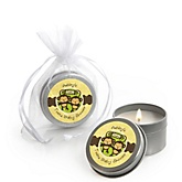 Twin Monkeys Neutral - Candle Tin Personalized Baby Shower Favors