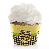 Twin Monkeys Neutral - Baby Shower Cupcake Wrappers & Decorations