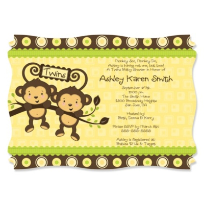 Twin Monkeys Neutral Baby Shower Theme Baby Shower Twins And
