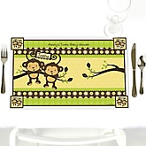 Twin Monkeys Neutral - Personalized Baby Shower Placemats