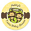 Twin Monkeys Neutral - Personalized Baby Shower Sticker Labels - 24 ct