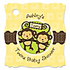 Twin Monkeys Neutral - Personalized Baby Shower Tags - 20 ct