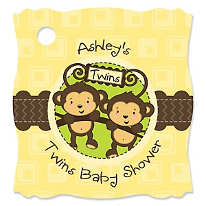 Twin Monkeys Neutral - Personalized Baby Shower Tags - 20 Count