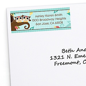 Owl - Look Whooo's Having Twins - Personalized Baby Shower Return Address Labels - 30 ct