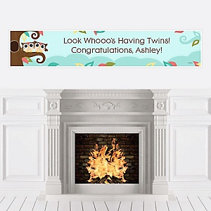 Owl - Look Whooo's Having Twins - Personalized Baby Shower Banners
