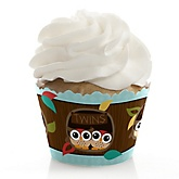 Owl - Look Whooo's Having Twins - Baby Shower Cupcake Wrappers & Decorations