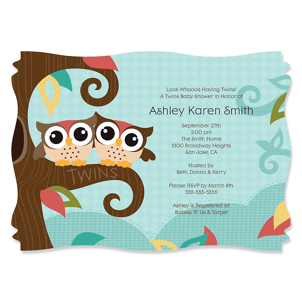 Captivating More Views. Owl   Look Whooou0027s Having Twins   Personalized Baby Shower  Invitations ...