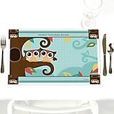Owl - Look Whooo's Having Twins - Personalized Baby Shower Placemats
