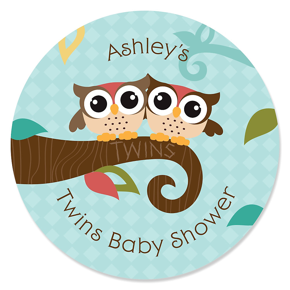 owl look whooo s having twins personalized baby shower sticker