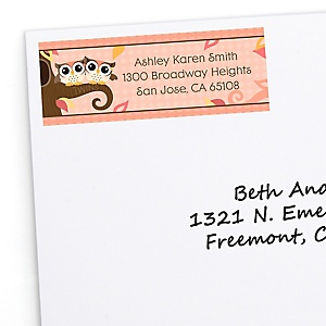 Owl Girl - Look Whooo's Having Twins - Personalized Baby Shower Return Address Labels - 30 ct