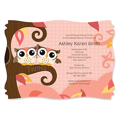 Owl Girl   Look Whooou0027s Having Twins   Personalized Baby Shower Invitations