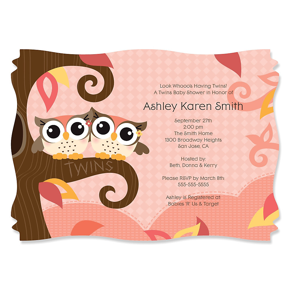 Owl Girl - Look Whooo\'s Having Twins - Personalized Baby Shower ...
