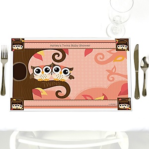 Owl Girl - Look Whooo's Having Twins - Personalized Baby Shower Placemats