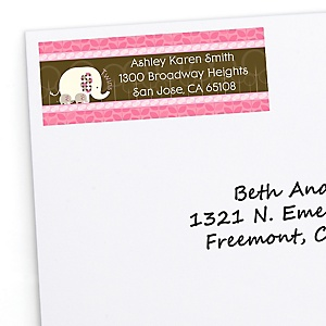 Twin Pink Baby Elephants - Personalized Baby Shower Return Address Labels - 30 ct