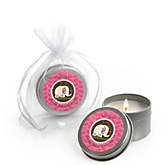 Twin Pink Baby Elephants - Candle Tin Personalized Baby Shower Favors