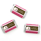 Twin Pink Baby Elephants - Personalized Baby Shower Mini Candy Bar Wrapper Favors - 20 ct