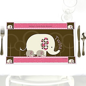Twin Pink Baby Elephants - Personalized Baby Shower Placemats