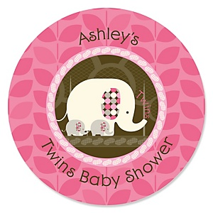 Twin Pink Baby Elephants - Personalized Baby Shower Sticker Labels - 24 ct