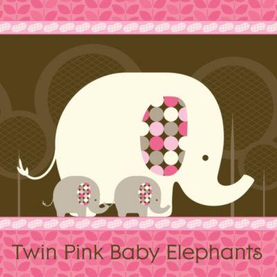 Twin Pink Baby Elephants   Baby Shower Theme