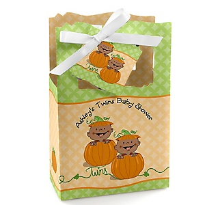 Twin Little Pumpkins African American - Personalized Baby Shower Favor Boxes