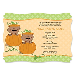 Twin Little Pumpkins African American - Personalized Baby Shower Invitations