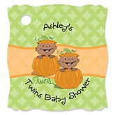 Twin Little Pumpkins African American - Personalized Baby Shower Tags - 20 Count