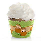 Twin Little Pumpkins Caucasian - Baby Shower Cupcake Wrappers & Decorations