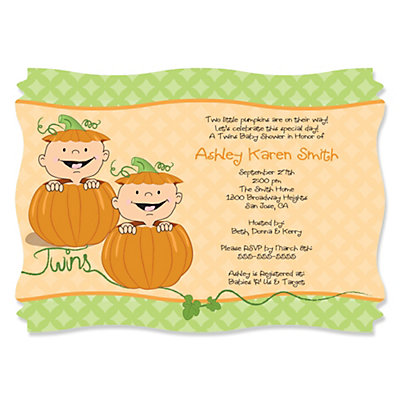 Twin Little Pumpkins Caucasian   Personalized Baby Shower Invitations |  BigDotOfHappiness.com