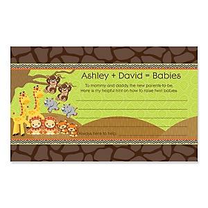 Twins Funfari™ - Fun Safari Jungle - Personalized Baby Shower Helpful Hint Advice Cards - 18 ct.