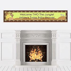 Twins Funfari™ - Fun Safari Jungle - Personalized Baby Shower Banners