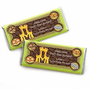 Twins Funfari™ - Fun Safari Jungle - Personalized Baby Shower Candy Bar Wrapper Favors