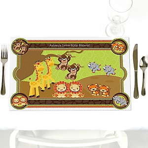 Twins Funfari™ - Fun Safari Jungle - Personalized Baby Shower Placemats