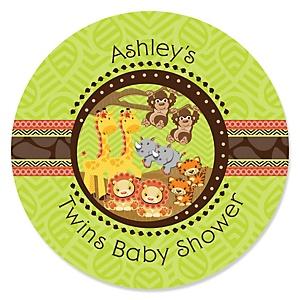 Twins Funfari™ - Fun Safari Jungle - Personalized Baby Shower Sticker Labels - 24 ct